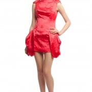 Атласное красное платье БТ007-1