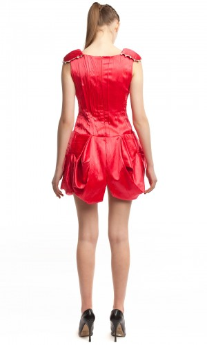Атласное красное платье БТ007-2