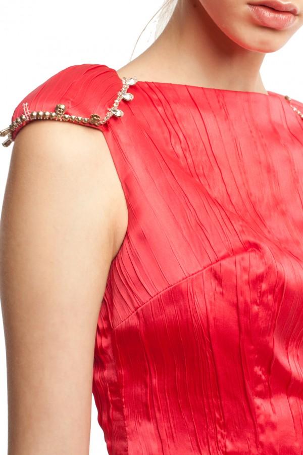 Атласное красное платье БТ007-3