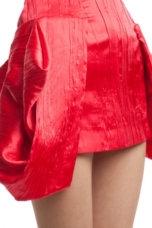 Атласное красное платье БТ007-4