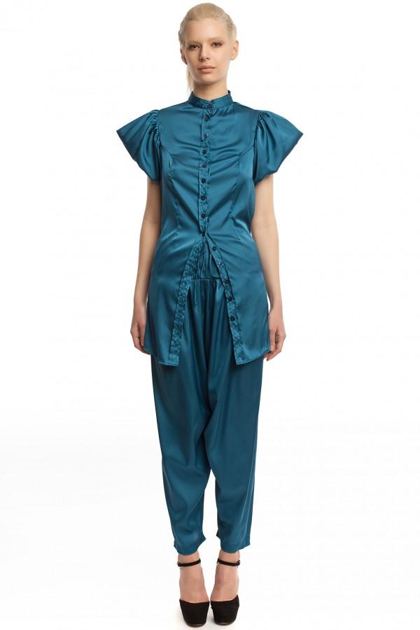 Атласные брюки и блузка БТ005-1