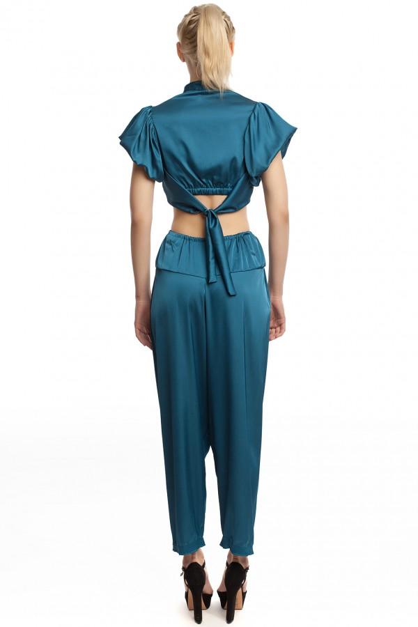 Атласные брюки и блузка БТ006-2