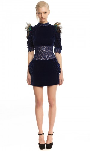 Бархатное платье-мини БК001-1