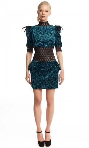 Бархатное платье-мини БК001-2-1