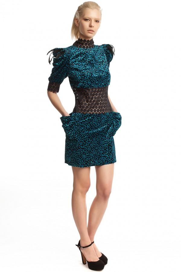 Бархатное платье-мини БК001-2-5