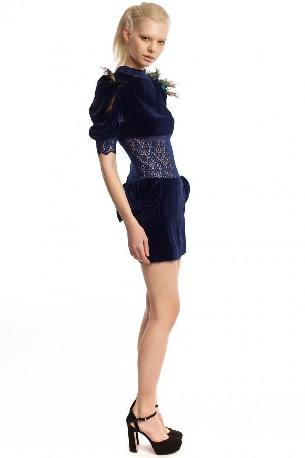 Бархатное платье-мини БК001-2
