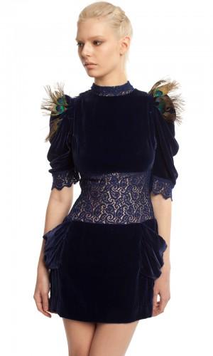 Бархатное платье-мини БК001-4