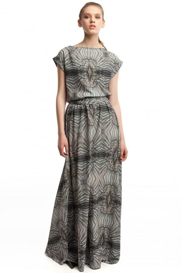 Длинное платье с принтом ЛБ006-1
