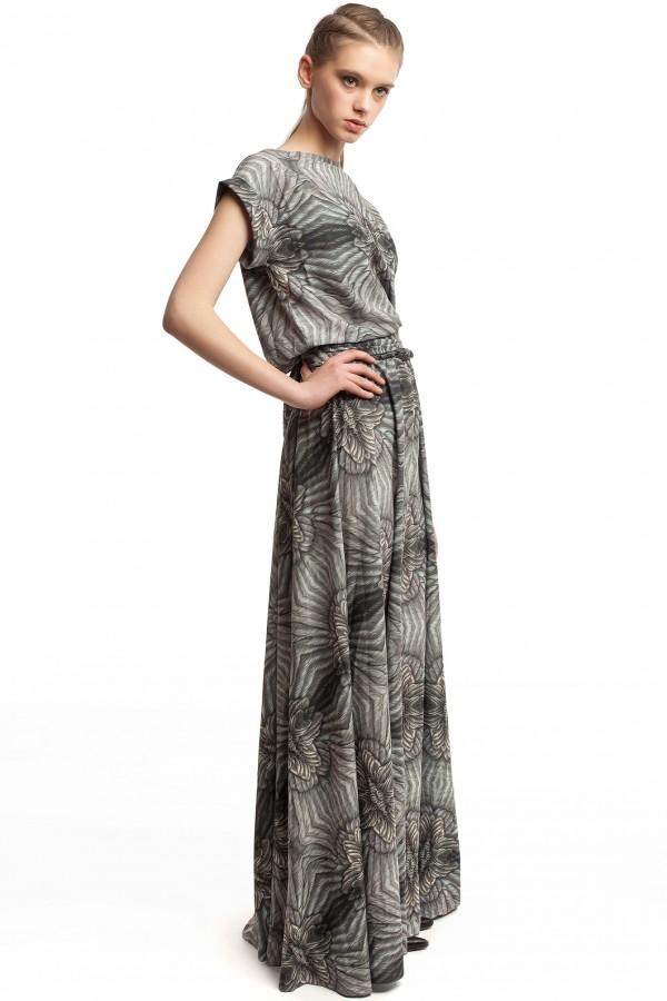 Длинное платье с принтом ЛБ006-3