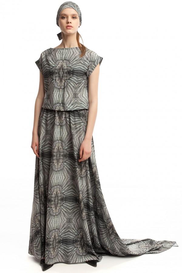 Длинное платье с принтом ЛБ006-5