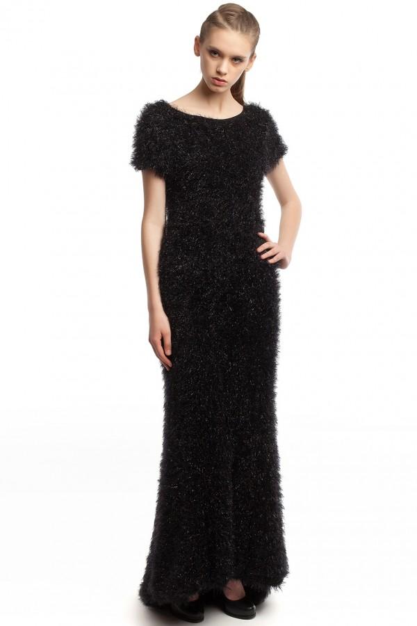 Длинное черное платье ЛБ013-1