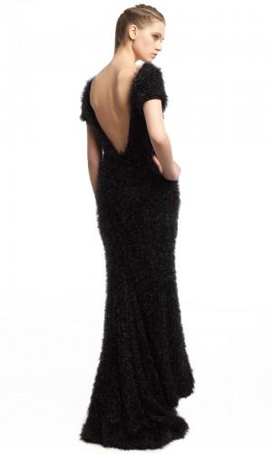Длинное черное платье ЛБ013-2