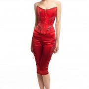 Корсет и брюки атлас красный БТ015-1