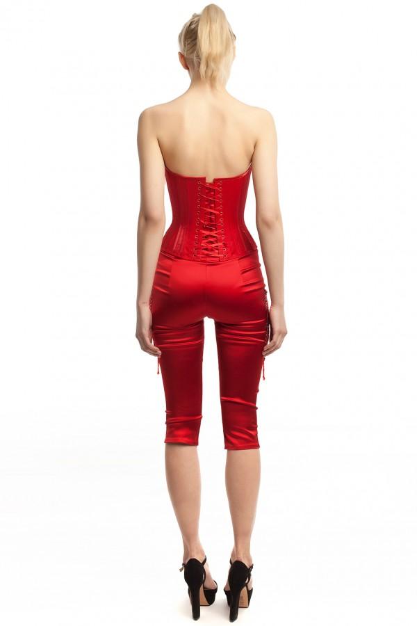 Корсет и брюки атлас красный БТ015-3