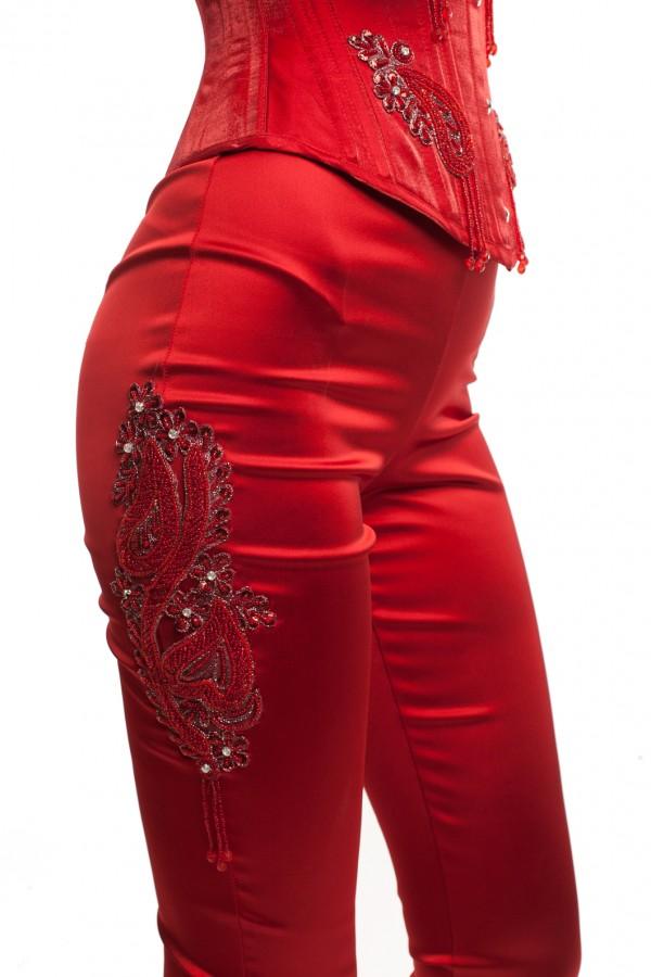 Корсет и брюки атлас красный БТ015-5