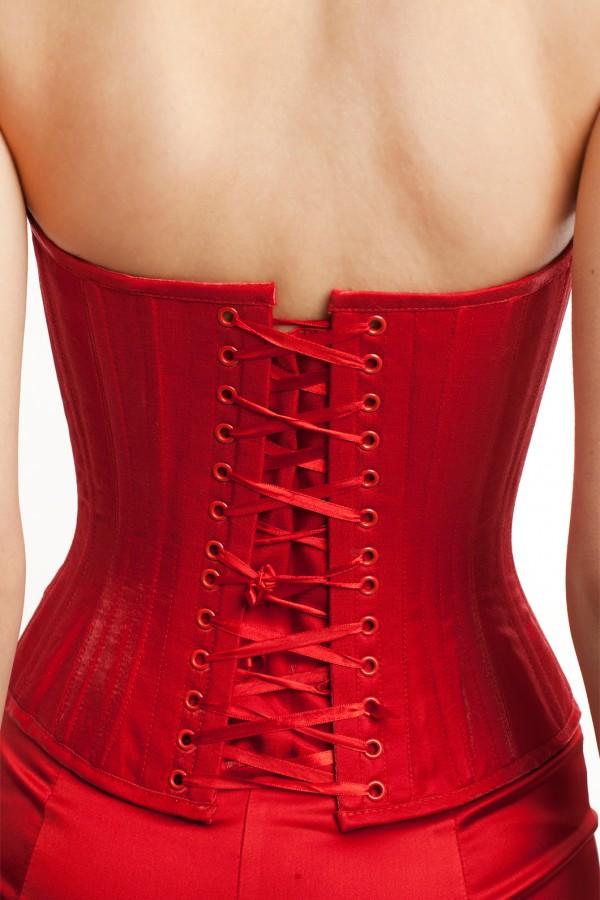 Корсет и брюки атлас красный БТ015-6