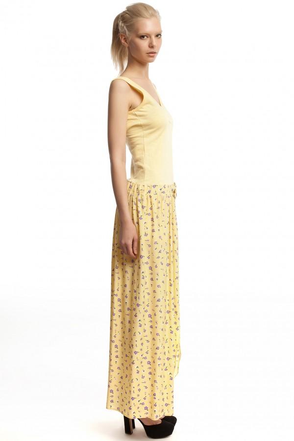 Платье длинное желтое БТ017-2