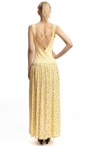 Платье длинное желтое БТ017-3