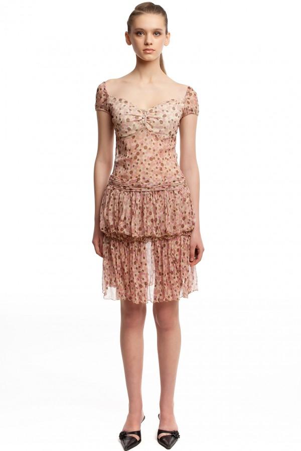 Шифоновое платье в горошек БТ001-01 1