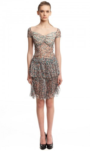 Шифоновое платье в горошек БТ001-2-1