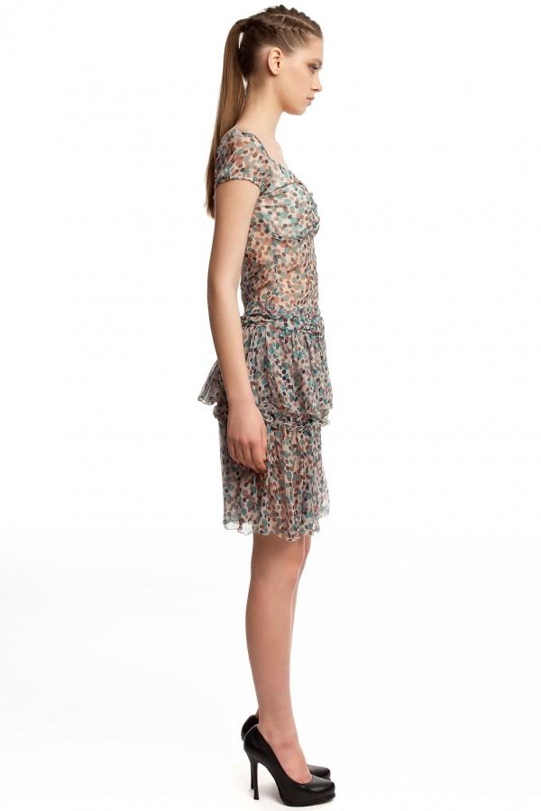 Шифоновое платье в горошек БТ001-2-2