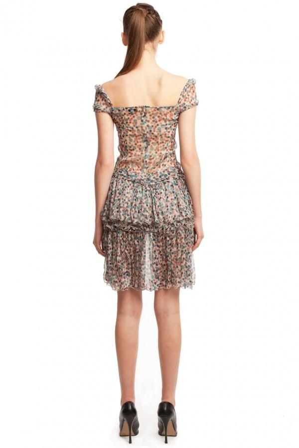 Шифоновое платье в горошек БТ001-2-3