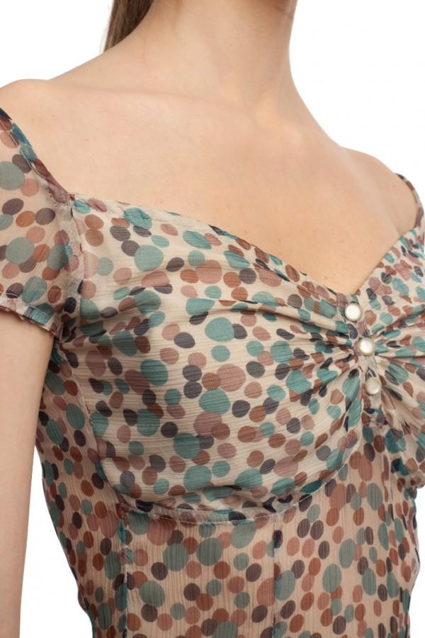 Шифоновое платье в горошек БТ001-2-4
