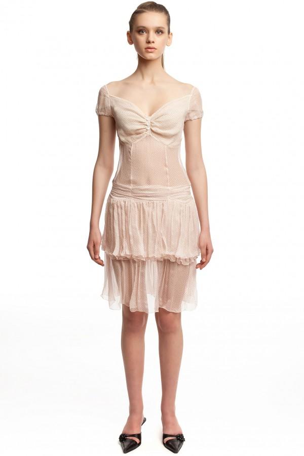 Шифоновое платье в горошек БТ001-3-1