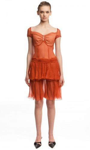 Шифоновое платье в горошек БТ001-4-1