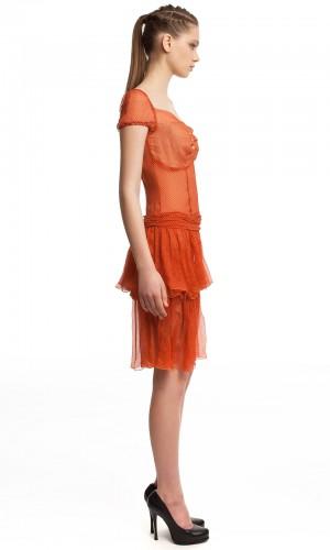 Шифоновое платье в горошек БТ001-4-2