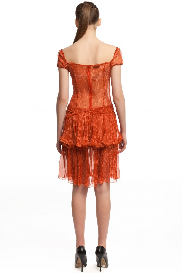 Шифоновое платье в горошек БТ001-4-3
