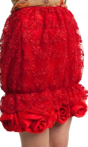 Юбка красная кружево БТ008-2
